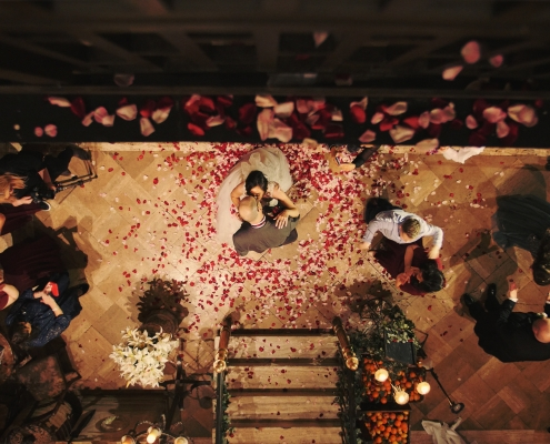 Romantic Arta Wedding Video Teaser. Bride and Groom having first dance with petal drop in Arta Glasgow's beautiful courtyard